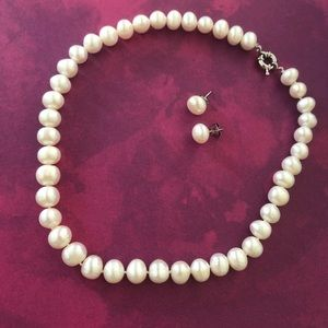 Freshwater pearl set, 10-12mm pearl size